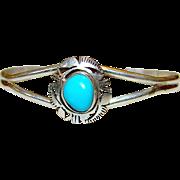 Vintage Native American Navajo Sterling Silver Turquoise Cuff Bracelet Tribal Design Signed