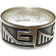 Vintage Sterling Silver 925 Taxco Band Ring Size 6 Southwestern Tribal Design