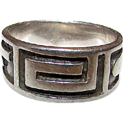 Vintage Sterling Silver 925 Taxco Band Ring Size 5 Southwestern Tribal Design