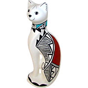 Native American Acoma Pueblo Pottery Hand Etched Cat Figurine by Shirley Chino