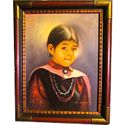 Vintage Native American Oil on Canvas Navajo Child Portrait. Signed by the Artist. Custom Made Frame