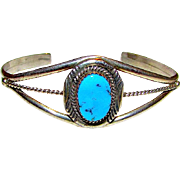 Native American Navajo Sterling Silver Kingman Turquoise Cuff Bracelet Adjustable