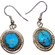 Old Pawn Native American Navajo Sterling Silver Kingman Turquoise Pierced Dangle Earrings