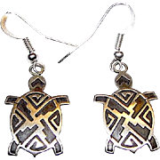 HOPI Native American Turtle Dangle Earrings Tribal Design