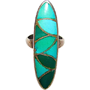 Old Pawn Sterling Turquoise Inlay Zuni Ring Size 6 Native American Sterling Sleeping Beauty Mine Turquoise Floral Custer Ring