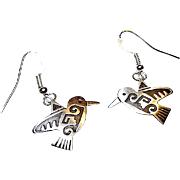 HOPI Native American Humming Bird Small Dangle Earrings Tribal Design