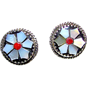 Vintage Native American Zuni Sterling Silver MOP Flower Earrings Coral and White MOP Jet Zuni Mosaic Inlay Earrings
