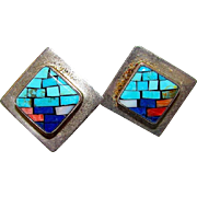 Vintage Navajo Sterling Silver 925 Channel Inlay Turquoise Coral Jet MOP Pierced Earrings