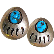 Native American Navajo Sterling Silver Kingman Mine Turquoise Bear Paw Pierced Statement Earrings