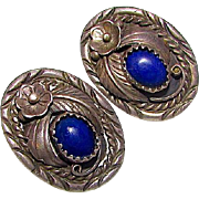 Native American Navajo Alvin Begay Sterling Silver Lapis Pierced Earrings Squash Blossom Design