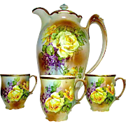 Antique Porcelain Chocolate Pot and Cups Set Bavaria Prince Regent Rare Hand Painted Victorian
