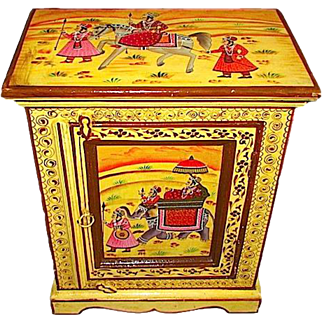 Vintage Indian Hand Painted Solid Wood Cabinet End Table Stand Storage Folk Art Mango Wood