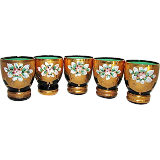 Bohemian Emerald Green Glass Shot Glasses with Hand Crafted Applique Flowers Design 24k Gold Accents Set of 5