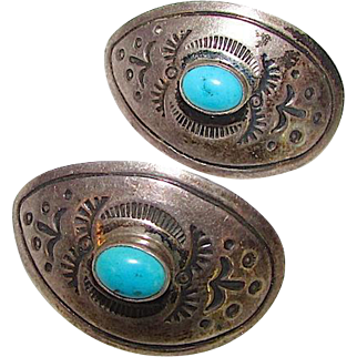 Native American Navajo Sterling Silver Turquoise Pierced Earrings Hand Etched Tribal Design