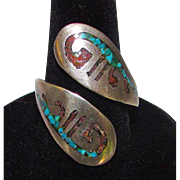 Navajo Old Pawn Native American Sterling Silver Turquoise Coral Inlay Bypass Adjustable Size Ring Tribal Design