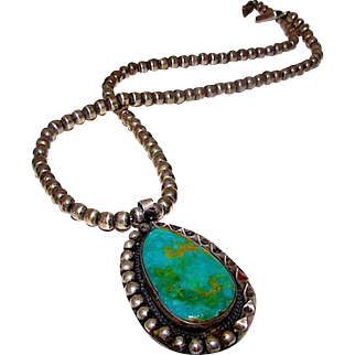 Vintage Old Pawn Native American Navajo Sterling Silver Turquoise Traditional Design Statement Necklace 62gr