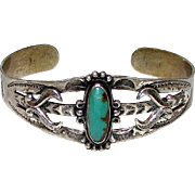 Old Pawn Navajo Made BELL TRADING Sterling Silver Turquoise Cuff Bracelet