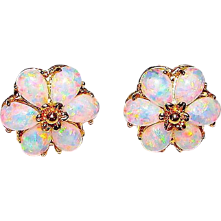 Estate 14K Gold Opal Flower Post Earrings