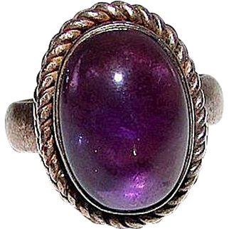 Art Deco Sterling Silver 925 Amethyst Solitaire Statement Cocktail Ring Size 6.5