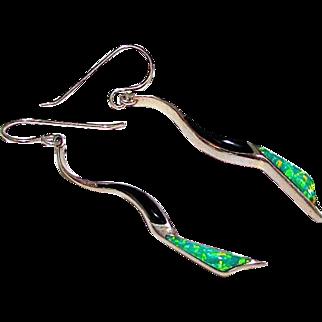 Vintage Southwestern Sterling Silver 925 Fire Opal Onyx Pierced Statement Dangle Earrings