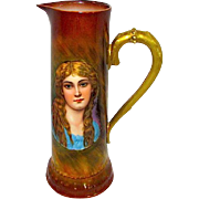 Vintage Porcelain Tankard Pitcher Ewer Hand Painted Young Maiden Portrait Design Early 1900s