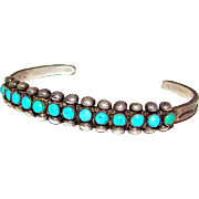 "Old Pawn Native American Zuni Sterling Silver Cerillos Mine Turquoise Cuff Bracelet ""Snake Eyes"" Design"