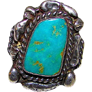 Old Pawn Native American Navajo Sterling Silver Blue Green Turquoise Ring Size 5