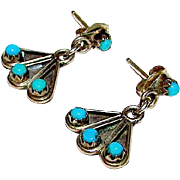 Native American Zuni Sterling Silver Sleeping Beauty Mine Turquoise Small Pierced Dangle Earrings
