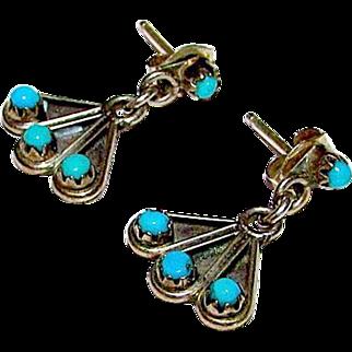 Native American Zuni Sterling Silver Sleeping Beauty Mine Turquoise Small Pierced Dangle Earrings