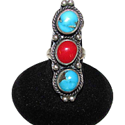 Navajo Old Pawn Native American Sterling Silver Kingman Turquoise Coral Ring Size 6.5 Weight 18 gr
