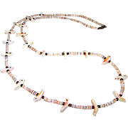 Native American Zuni Old Pawn Mother of Pearl MOP Bird Fetish Necklace