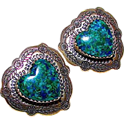 Navajo Native American Sterling Silver Azurite Heart Shaped Statement Pierced Earrings