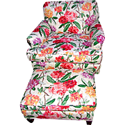Mid Century Floral Lounge Armchair with Ottoman