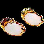 Vintage Estate 10K Gold Opal Post Earrings Fine Estate Jewelry