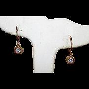 10K Yellow Gold Faceted Crystal Dangle Pierced Earrings Fine Estate Jewelry