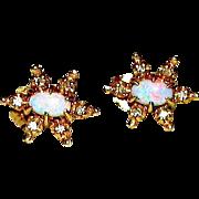 Vintage Estate 14K Gold Opal Diamond Accents Star Shaped Post Earrings Fine Estate Jewelry