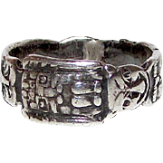 Sterling Silver 925 Tribal South American Small Finger Pinky Band Ring Size 4