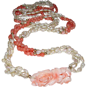 Angel Skin Coral Carved Flower Cultured Pearl Coral 14K Gold Beaded Necklace
