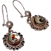 Pre Eagle Sterling Silver 925 Mexico Taxco Pierced Earrings with Shell Inlay