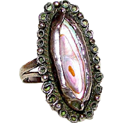 Pre Eagle Vintage Taxco Mexican Sterling Silver 925 Pink Mother Of Pearl Statement Ring Size 6