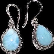 Sterling Silver 925 Larimar Dangle Earrings