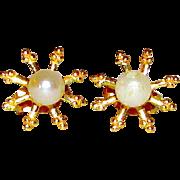 14K Gold Cultured Pearl Starburst Design Post Earrings Fine Estate Jewelry