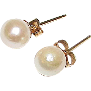 14K Gold 6mm Cultured Akoya Pearl Post Earrings Fine Estate Jewelry