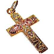 10K Yellow and Rose Gold Black Hills Gold Cross Pendant