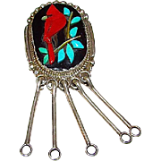 Native American RONNIE CALAVAZA Old Pawn Zuni Sterling Silver Coral Turquoise Cardinal Pin Brooch Pendant Rare