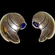 Native American NAVAJO Sterling Silver Lapis Lazuli MOD Earrings by Thomas Nez