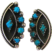 Vintage Old Pawn Native American Zuni Sterling Silver Turquoise Clip On Earrings