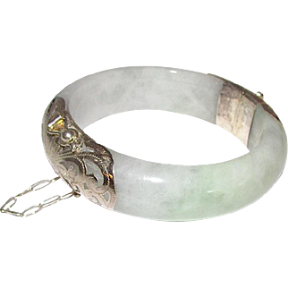 Vintage Green Lavender Hues Jade Jadeite Bangle Bracelet Sterling Silver Accents Safety Chain 75g Estate Jewelry