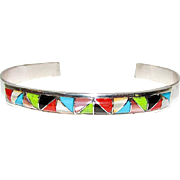Native American Zuni Sterling Silver Turquoise Coral MOP Jet Gaspeite Inlay Cuff Bracelet by Gloria Tucson