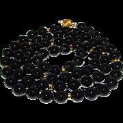 Vintage 14K Gold Black Onyx 8mm Beaded Necklace Estate Jewelry